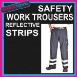 WORKWEAR HI VIZ REFLECTIVE WORK SAFETY ADULTS TROUSERS